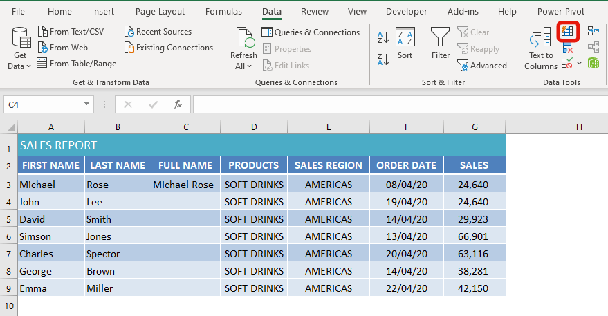 flash fill button in excel