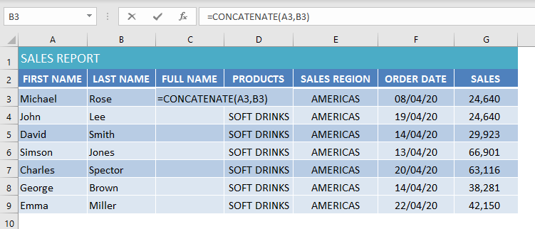 use concatenate to merge cells in excel