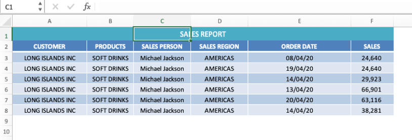 excel merged cells - center across selection