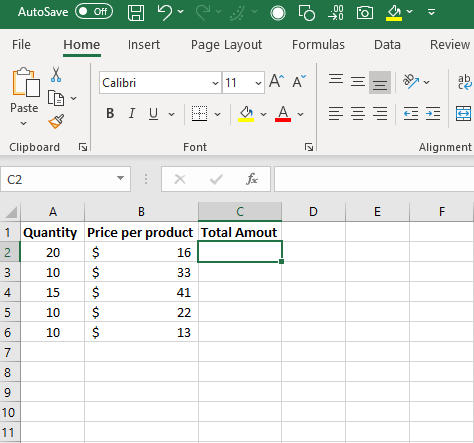 enter = in excel cell