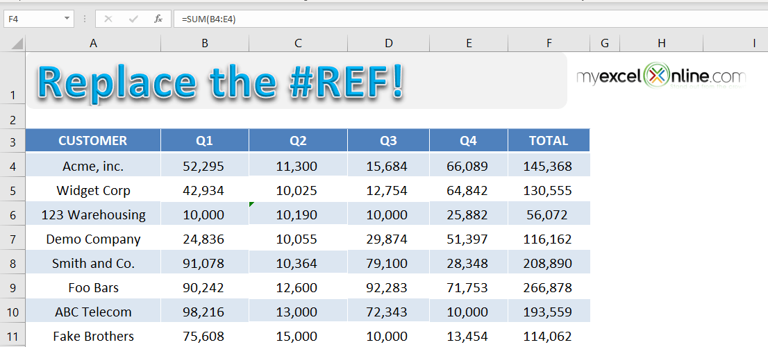 Clear a #REF error in Excel | MyExcelOnline
