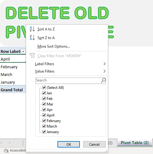 Clear & Delete Old Pivot Table Items | MyExcelOnline