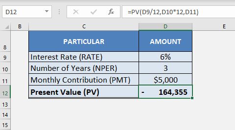using excel as a time value of money
