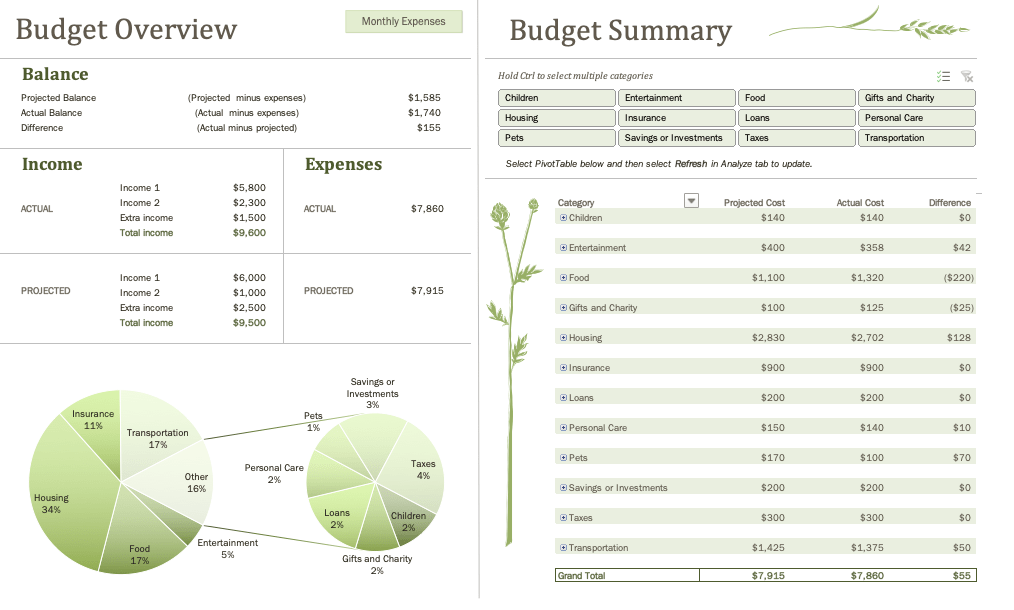 family monthly budget excel template