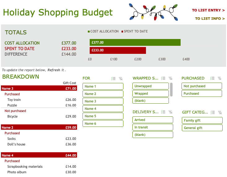 Holiday Shopping Budget Excel Template