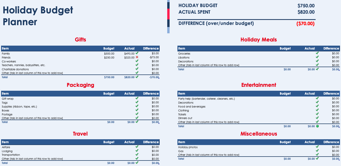 Holiday Budget Planner Excel templates