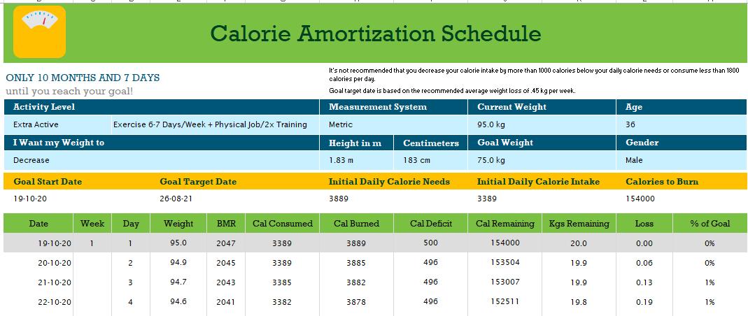 Calorie Amortization Schedule Excel Template