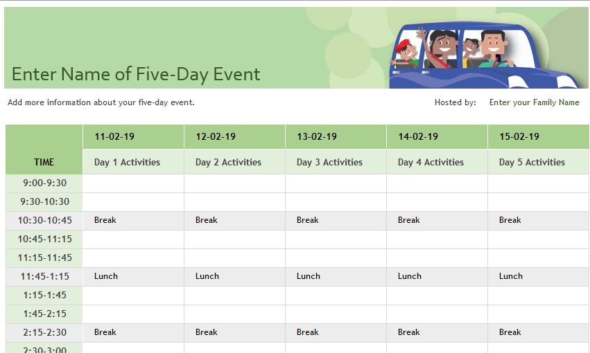 Family event schedule excel template