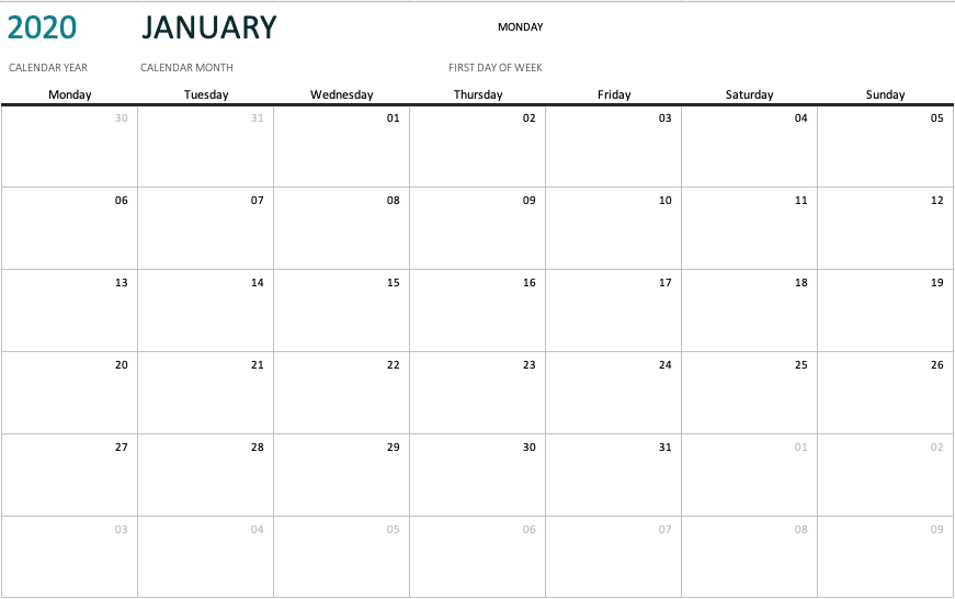any year calendar any month