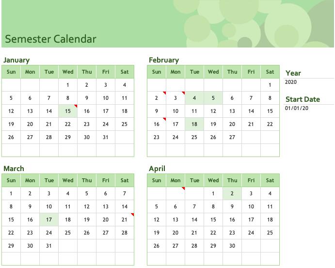 Semester Calendar Excel