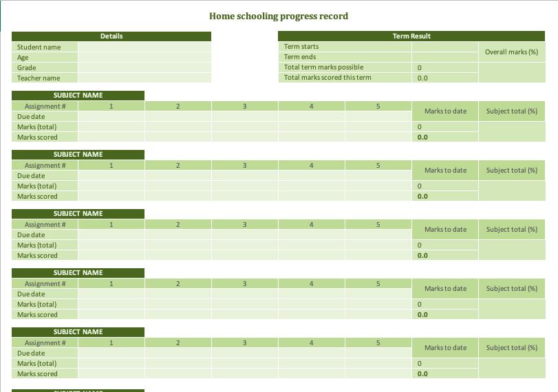 Home schooling progress record1