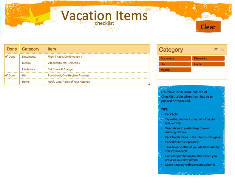 vacation item checklist