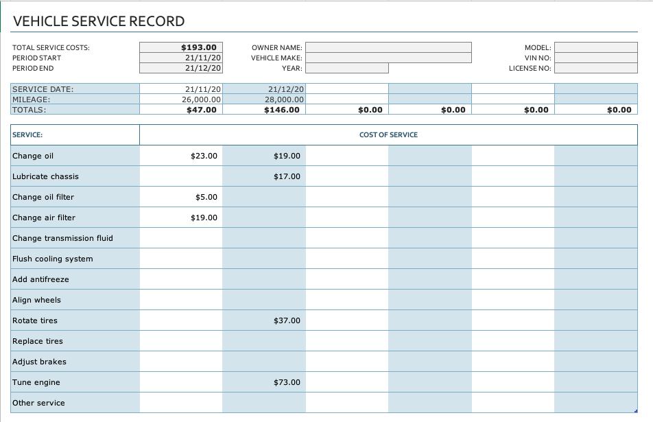 Vehicle service record