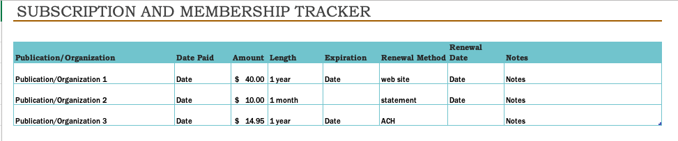 Subscription and membership tracker