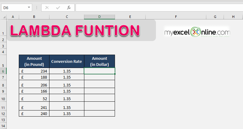 LAMBDA Function in Excel - Create Custom Functions in Excel | MyExcelOnline