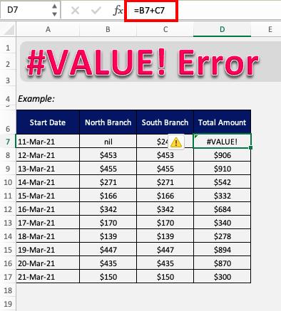 #value error in excel