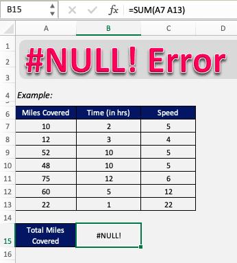 #null error in excel