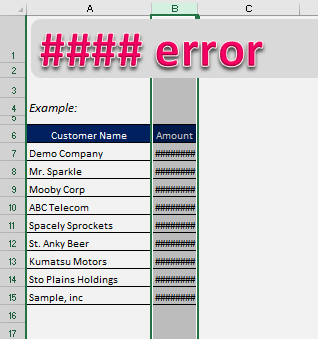 How to correct a ##### error