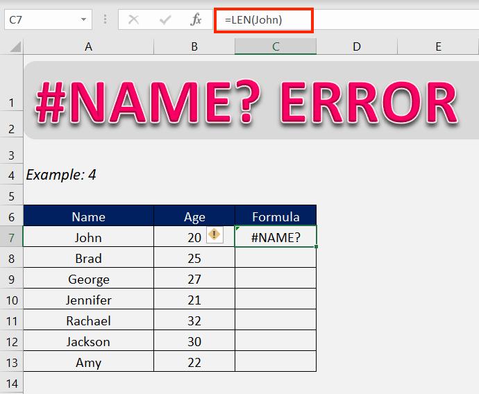 #name error in excel