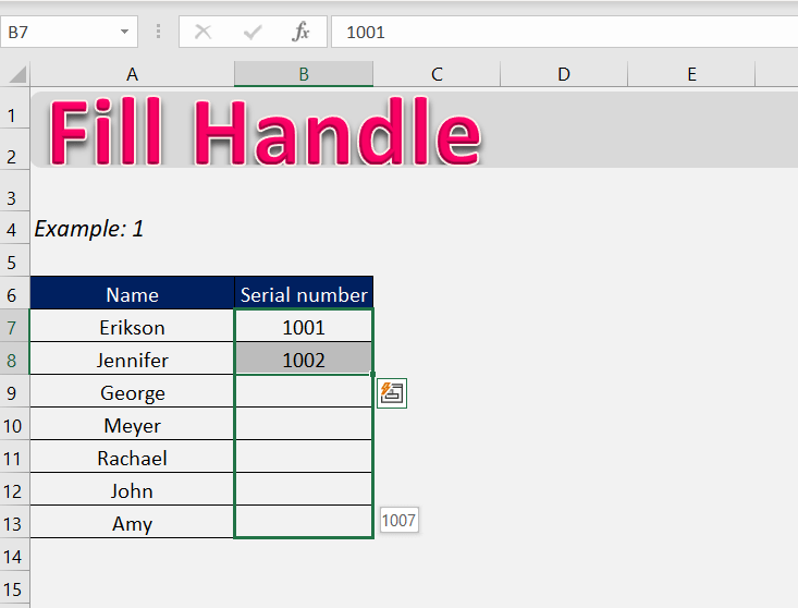 fill handle excel